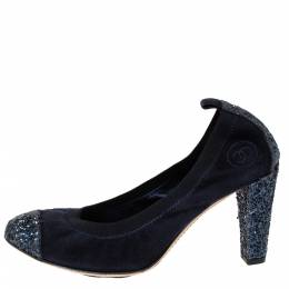 Chanel Blue Suede And Caorse Glitter Cap Toe Scrunch Pumps Size 38 310634