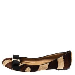 Salvatore Ferragamo Multicolor Calf Hair Varina Bow Ballet Flats Size 38.5 310636