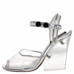 Marc Jacobs Silver PVC and Leather Plexiglass Heel Sandals Size 35 310528