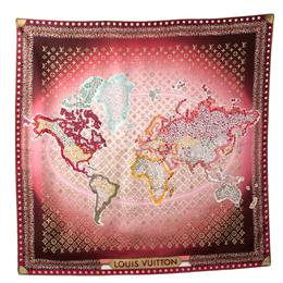 Louis Vuitton Burgundy Ombre Monogram Map Silk Square Scarf 308108