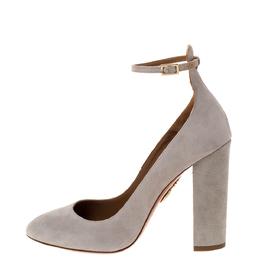 Aquazzura Grey Suede Alix Ankle Strap Block Heel Pumps Size 37.5 310863