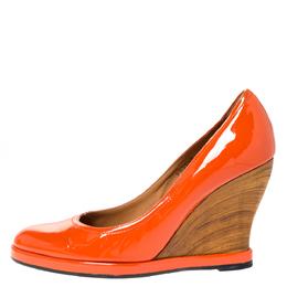 Salvatore Ferragamo Orange Patent Leather Wedge Platform Pumps Size 38.5 310512