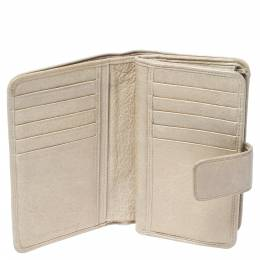 Balenciaga Beige Oryx Leather Compact Wallet 307069