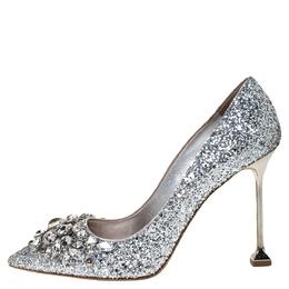 Miu Miu Silver Glitter Crystal Embellished Pointed Toe Pumps Size 36 308934