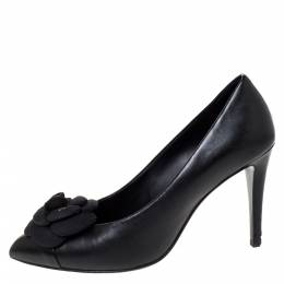 Chanel Black Leather Camellia CC Pumps Size 38 310294