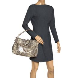 Kate Spade Metallic Beige Python Effect Leather Minka Top Handle Bag 309078
