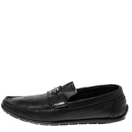 Versace Black Leather Medusa Detail Slip On Loafers Size 42 310619