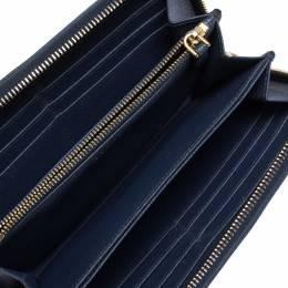 Prada Blue Saffiano Lux Leather Zip Around Wallet 308123