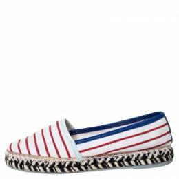 Sophia Webster Multicolor Striped Canvas Platform Espadrille Flats Size 38 309673