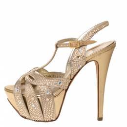 Gina Beige Satin And Leather Crystal Embellished T-Strap Emperor Platform Sandals Size 37 309149