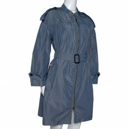 Burberry Stone Blue Ruched Light Weight Belted Coat S 309148