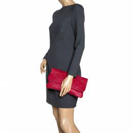 Tod's Red Signature Embossed Patent Leather Turnlock Clutch 310268