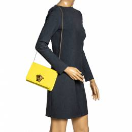 Versace Yellow Patent Leather Medusa Chain Clutch 308768