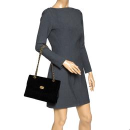Coach Black Velvet and Leather Parker 18 Mauve Shoulder Bag 308983