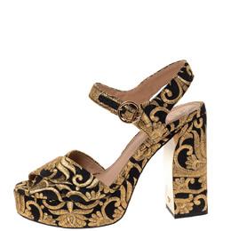 Tory Burch Gold/Black Brocade Fabric Loretta Sandals Size 39 310899