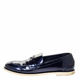 Chanel Blue Patent Leather CC Loafer Size 38.5 310257