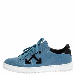 Off-White Blue Croc Embossed Leather Lace Low Top Sneakers Size 39 309751