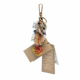 Burberry Multicolor Cashmere and Leather Seahorse Crystal Key Ring / Bag Charm 310329