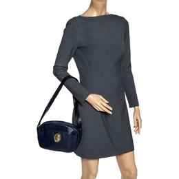 Dior Navy Blue Leather Vintage Camera Shoulder Bag 310221