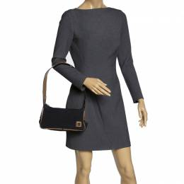 Bally Black/Beige Nylon and Leather Baguette Bag 312203