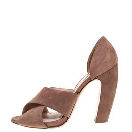 Miu Miu Pink Suede Cross Strap D'orsay Sandals Size 39.5 312216