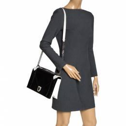 Dior Black/White Leather and Python Large Diorama Flap Shoulder bag 307963