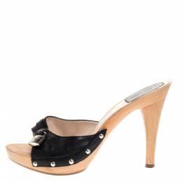 Dior Black Leather Lock Wooden Clog Slide Sandals Size 38.5 312537