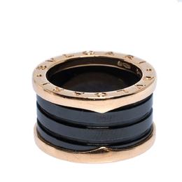 Bvlgari B.Zero1 Black Ceramic 18K Rose Gold 4-Band Ring Size 50 309338