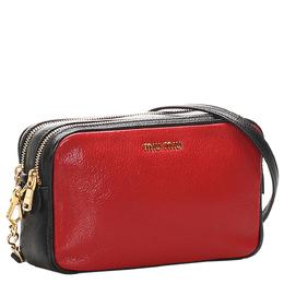 Miu Miu Red Madras Leather Double Zip Crossbody Bag 311292