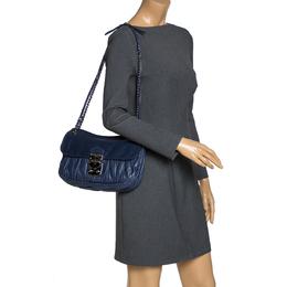 Miu Miu Navy Blue Metalasse Leather Chain Shoulder Bag 310580