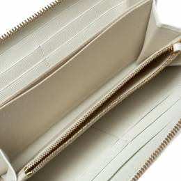 Fendi White Leather Karlito Zip Around Continental Wallet 310749