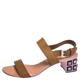 Miu Miu Brown Leather Crystal Embellished Block Heel Ankle Strap Sandals Size 40 312429