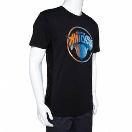 Marcelo Burlon Black Cotton NY Knicks Print Mesh Panel T-Shirt S 310363