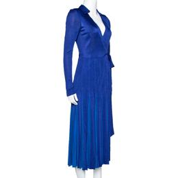 Diane Von Furstenberg Blue Jersey Pleated Stevie Wrap Dress S 310484