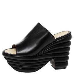 Salvatore Ferragamo Black Leather Miley Platform Mules Size 36 310557