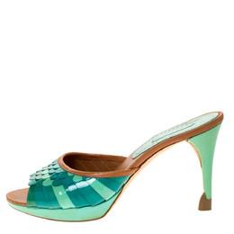 Celine Multicolor Patent and Leather Trim Scalloped Slide Sandals Size 37 310835