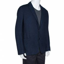 Armani Collezioni Navy Blue Textured Wool Blend Jacket XL 312541
