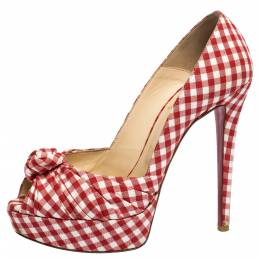 Christian Louboutin Red/White Gingham Fabric Greissimo Platform Pumps Size 38.5 304232