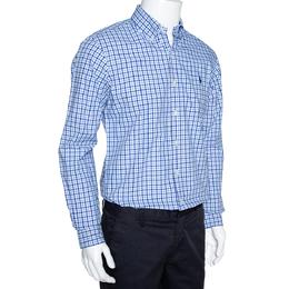 Ralph Lauren Blue Gingham Check Cotton Long Sleeve Shirt M 306310
