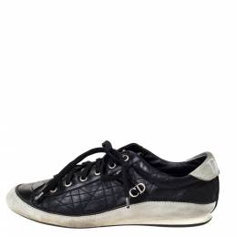 Dior Black/Offwhite Leather and Suede Cannage Lace Up Sneakers Size 39.5 306880