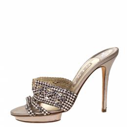 Gina Metallic Lilac Crystal Embellished Leather Platform Sandals Size 39 306887