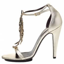 Roberto Cavalli Metallic Gold Leather Metal Flower Embellished Ankle Strap Sandals Size 38.5 306983