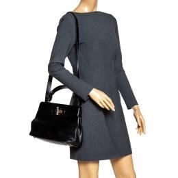 Bvlgari Black Leather Isabella Rossellini Top Handle Bag 306513