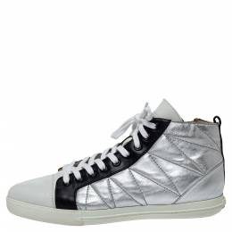 Miu Miu Silver/Black Quilted Leather Lace Up Zipper Sneakers Size 39.5 306519