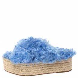 Miu Miu Blue Faux Fur Flat Platform Espadrille Sandals Size 36 306700