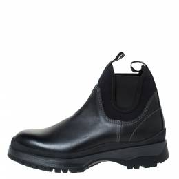 Prada Black Leather and Neoprene Chelsea Ankle Boots Size 41.5 306849