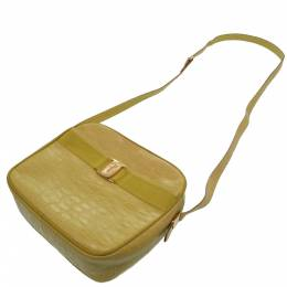 Salvatore Ferragamo Yellow Crocodile Embossed Leather Crossbody Bag 306263