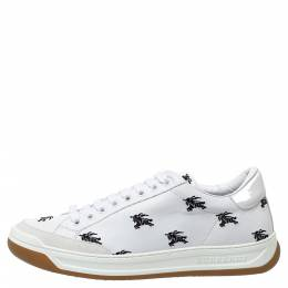 Burberry White Leather Timsbury Low Top Sneakers Size 40 306487