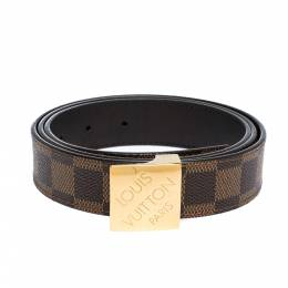 Louis Vuitton Damier Ebene Canvas Logo Buckle Belt 100CM 306483
