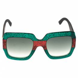 Gucci Multicolor Gradient GG0102S Pop Glitter Iconic Oversize Square Sunglasses 306733